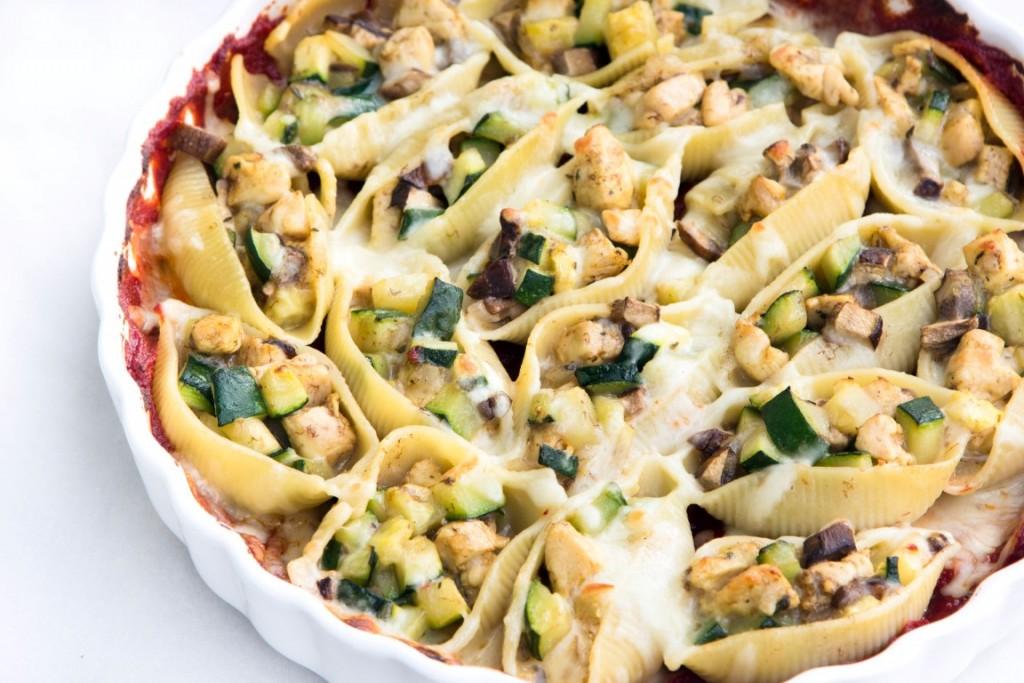 Rezept-Muschelnudeln-gefüllt-mit-Zucchini-Pilze-Hühnerfleisch-3