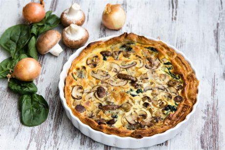 Quiche mit Champignons Gorgonzola und Spinat